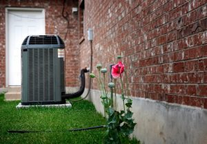 Air-Conditioner-Unit-Lawn-Pink-Flower